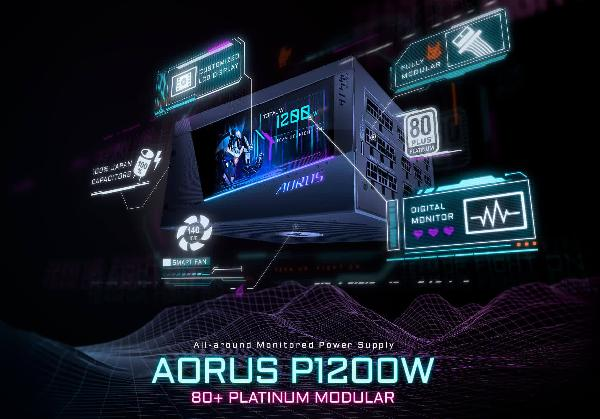 https://safirsoft.com 1200W Aorus GIGABYTE Power Supply with Built-in LCD Panel